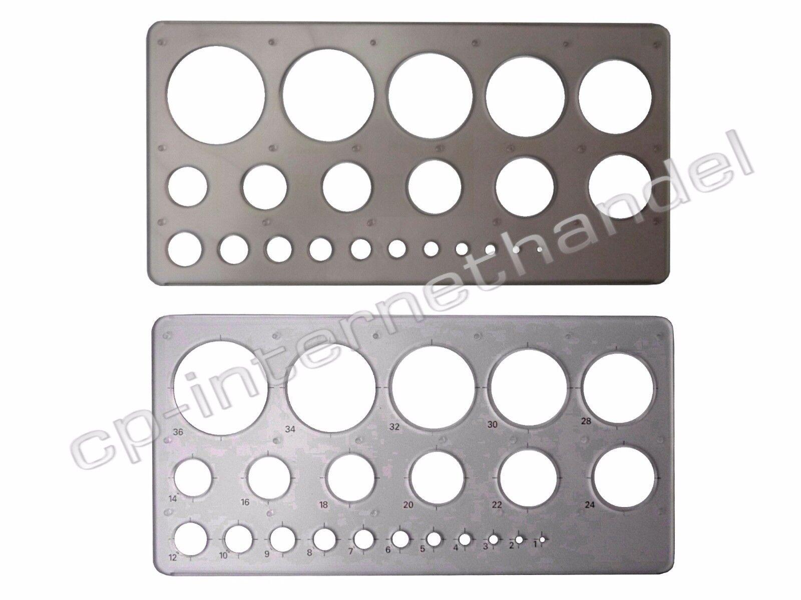 Kreisschablone / Lochschablone - 1-36 mm - hochwertig und stabil - B-Ware