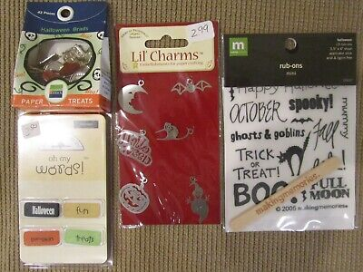 NEW Halloween Sets for Cardmaking/Scrapbooking Charms, Brads, Words, Rub-Ons (Word For Halloween)