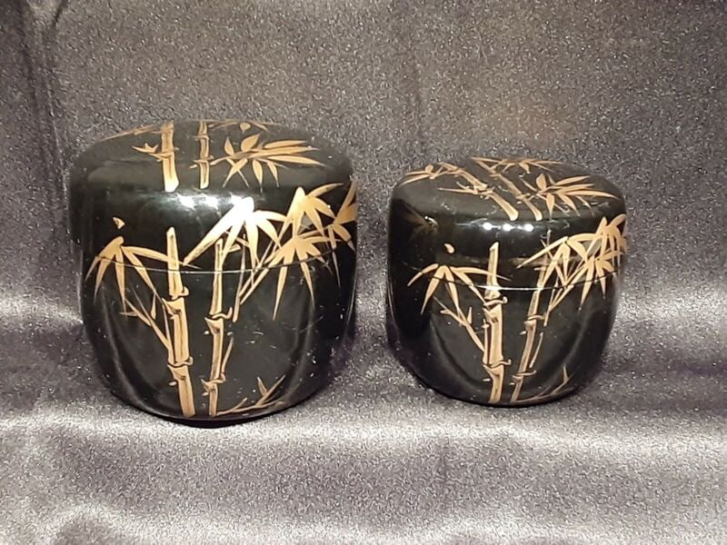 2 Nesting Traditional Lacquer Tea Caddy