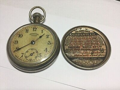 Ingersoll Crown USA vintage pocket watch With Original Guarantee Signed