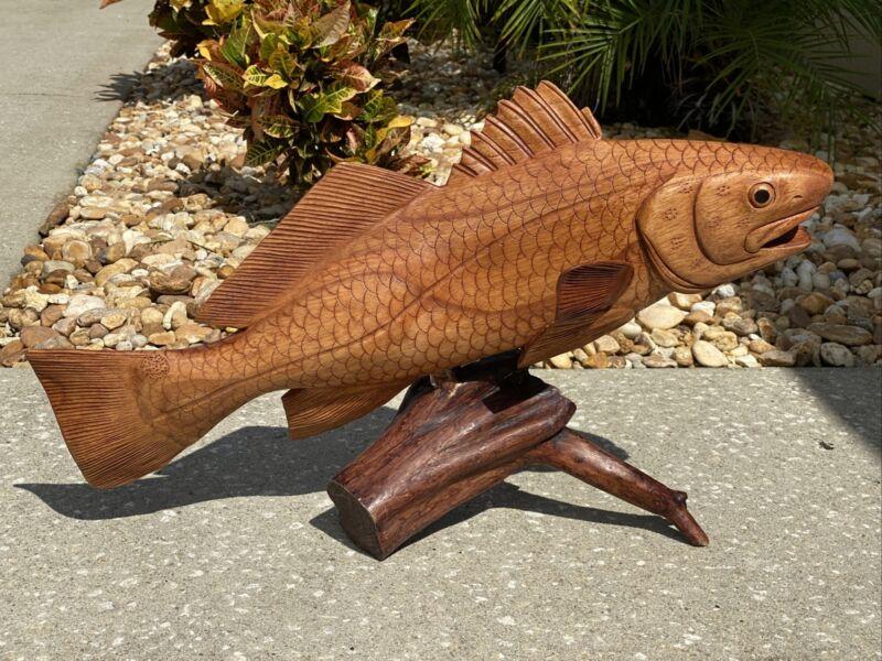 REDFISH DRIFTWOOD BASE HAND CARVED WOOD ART HOME DECOR FISH TIKI BAR SALTWATER