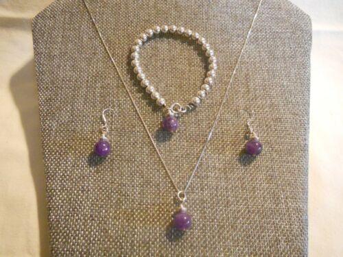 Vintage Sterling Silver Amethyst Ball Bead Necklace Bracelet Dangle Earring Set