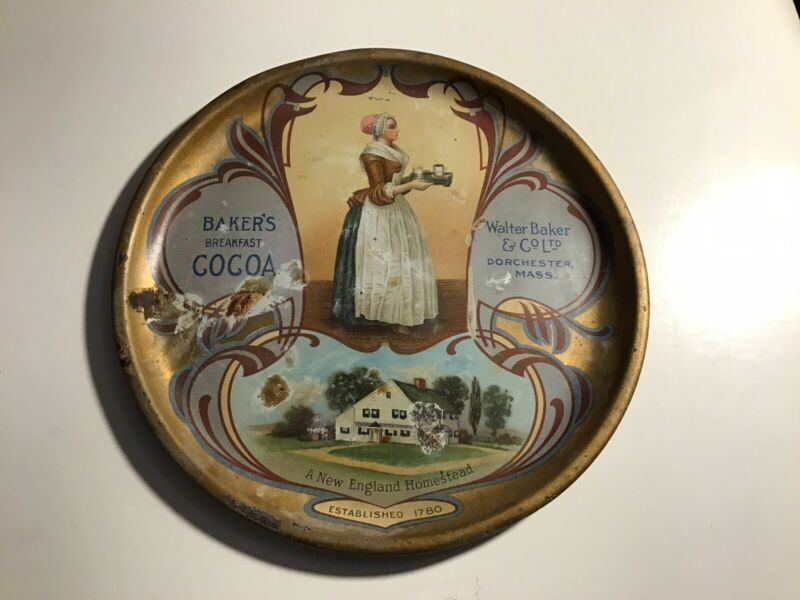 """1900s Bakers Cocoa Chocolate Tip Tray New England Homestead 6"""" Advertising"""