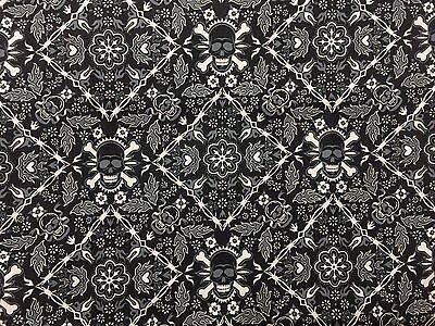 Gothic Halloween Alexander Henry Fabric Black White Skull Baddanna Bandana BTHY