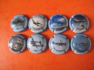 série de  8 new capsules  de champagne  armand blin et fils, avions