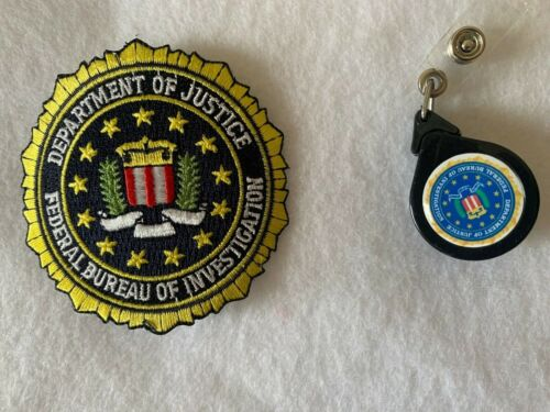 FBI fabric patch 3 inch diameter and retractable ID holder with FBI emblem