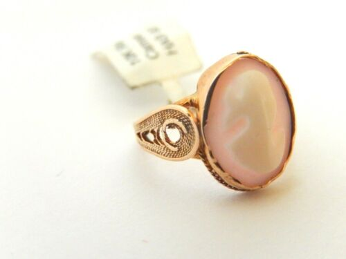 *VINTAGE* 10K Yellow Gold CAMEO RING Size 3.75