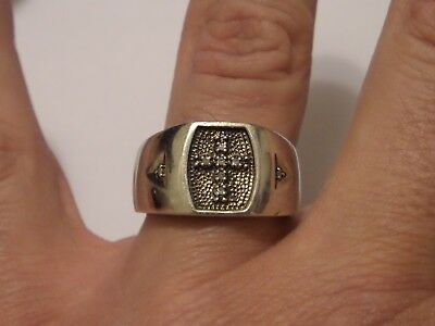 STERLING STERLING SILVER CROSS RING SIGNED MSJ 925 SIZE 11 TESTED