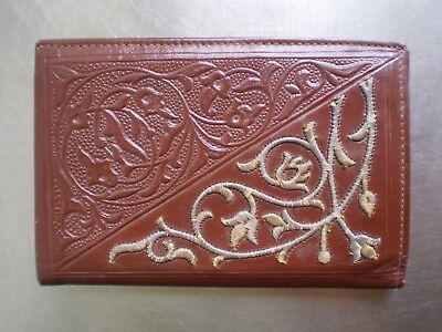 Wallet Arabic Leather Filigree Silver Decor Oriental Algeria Antique Maroquine