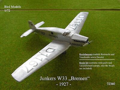 "Junkers W33 ""Bremen"" - 1927    1/72 Bird Models Rebausatz / resin kit"