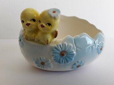 Sweet Little Chicks On Egg Ceramic Vintage Planter Ceramic Egg Planter