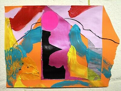 ST IVES MODERNIST ABSTRACT 23 BY NIGEL WATERS ORIG ACRYLIC PAINTING COLLAGE *