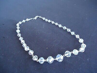 1930s Art Deco Style Jewelry vintage  crystal necklace faceted 1930's lustre graduated  $13.93 AT vintagedancer.com