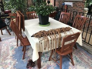 Antique Solid wood table with two extender leaves