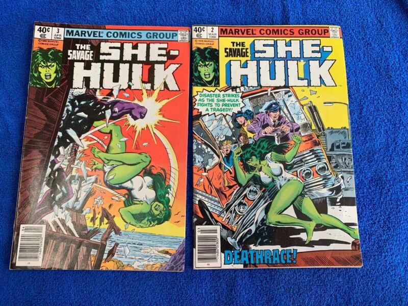 Savage She-Hulk #2  & #3  Near Fine White pgs  Art by Mike Vosburg Lot Of 2