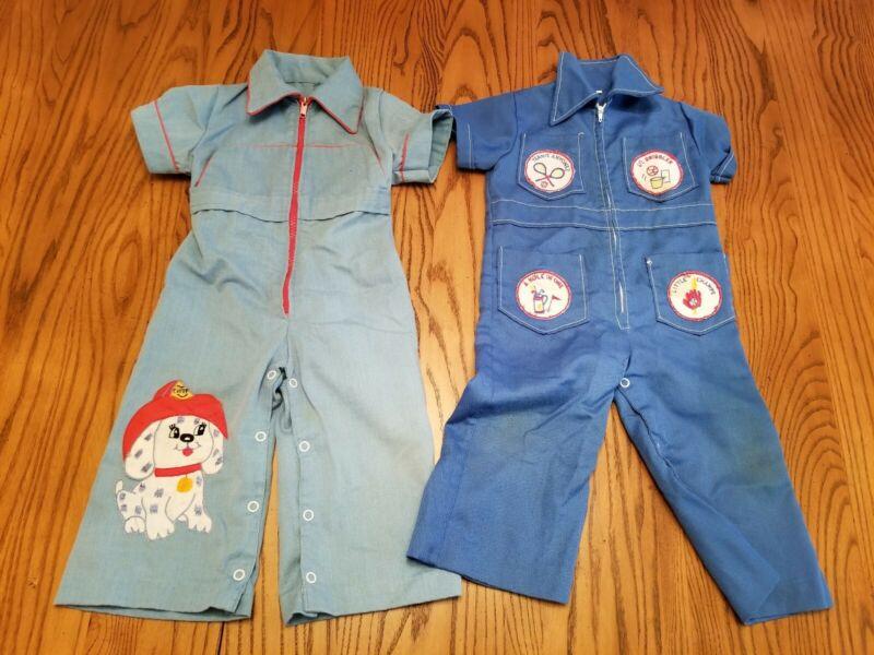 2 Vintage Toddler Boys Navy Blue Jumpsuits 18 month