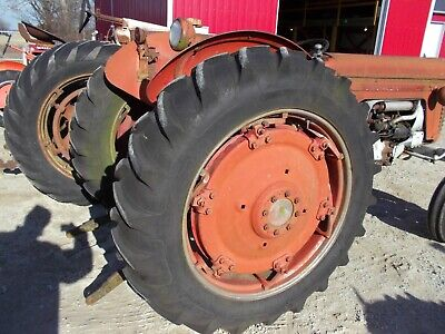 Massey Harris 65 Tractor Power Adjust Rims 13.6 X 38 Armstrong Heavy Duty Tires