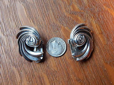 Danecraft R Vintage 1940s Mid Century Sterling Silver Clip On Signed Earrings