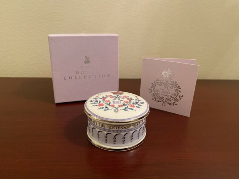 Royal Collection Queen Mother 100th Birthday Trinket Box w/ Box And Card
