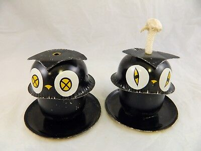 Black Owl Oil Lantern Lamp Light Tiki Torch Tin Litho Halloween Fall Decor Vtg