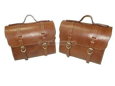 Saddle Bags Pair Brown Color Pure Leather Universal Fit For