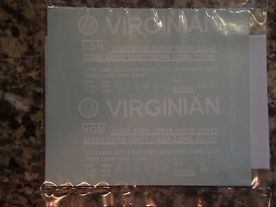 Decals for The Virginian Railway's low side gondolas, in white, in S-scale