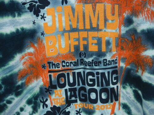 Vintage Jimmy Buffett Lounging At The Lagoon Tour 2012 Tie Dyed T Shirt Size L