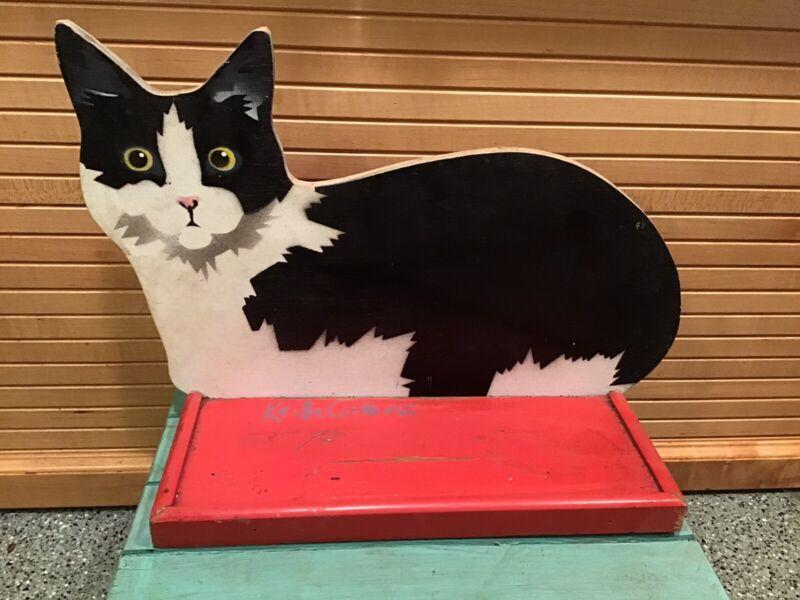 Vintage Hand Painted Wood Cat Shelf, Signed