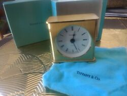 Tiffany & Co.Desk Mantel Table Clock, Swiss Heavy Solid Brass-