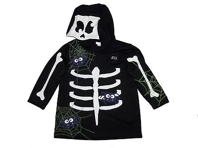 bn ex store boys glow in the dark hooded skeleton top halloween 1-3 yrs