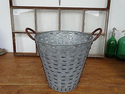 O2460 Olivenkorb ~ Eisenkorb ~ OLIVENEIMER verzinkt ~ olive bucket ~ Zinkwanne