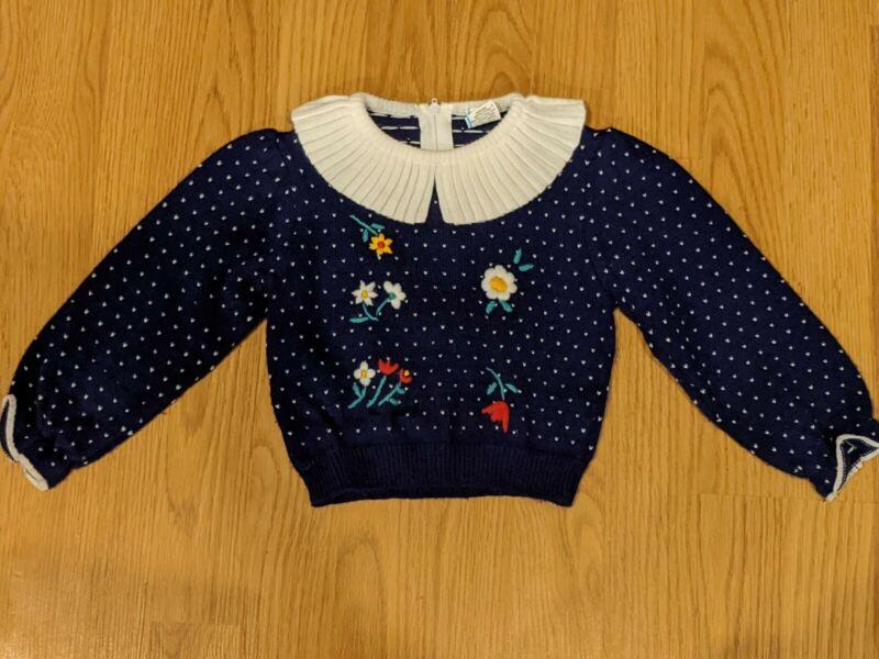 Girls Toddler Vintage Birdseye Acrylic Sweater.- 3T