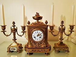 19TH CENTURY FRENCH ORMOLU BRONZE MANTEL CLOCK GARNITURE.
