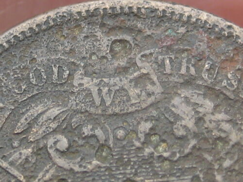 1865 Two 2 Cent Piece- Dug? Metal Detector Find? Partial WE
