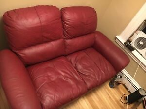 Red leather love seat $75