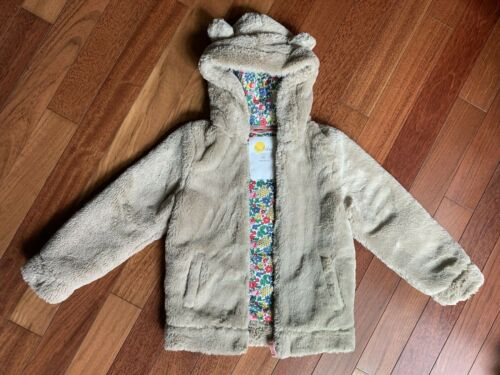 Mini Boden Hooded Bear Jacket Floral Cotton Lining Soft Teddy Ears Soft 9 10 140
