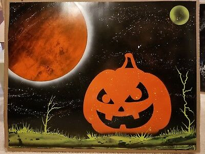Original Spray Paint Art- Halloween Night Pumpkin Coming to Life 22x28