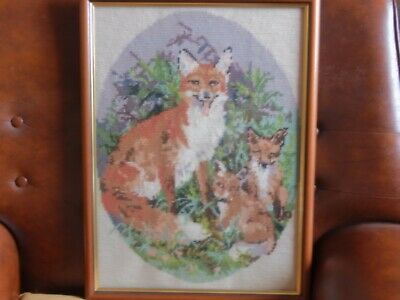 wool tapestry framed picture of fox & cubs H49  x W37 cms Colours good Pre owned