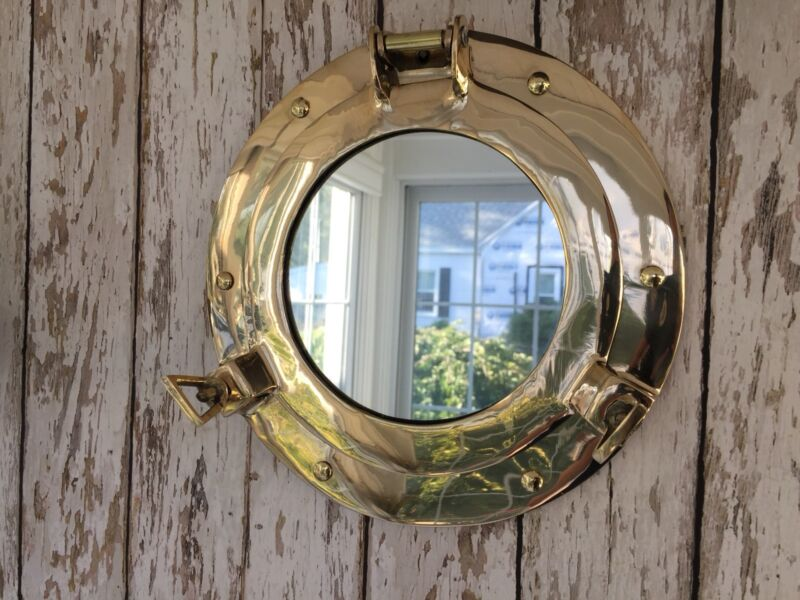 "9"" Brass Porthole Mirror ~ Nautical Maritime Wall Decor ~ Ship Cabin Window"