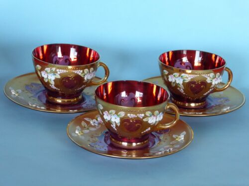 Vintage Bohemian 3 Cups and Saucers Cranberry Glass Gold Overlay Enameled Flower