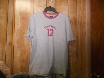"Pre-owned Mens Abercrombie & Fitch ""12"" Neck Ringer Tshirt-Sz M-Gray-100% Cotton"