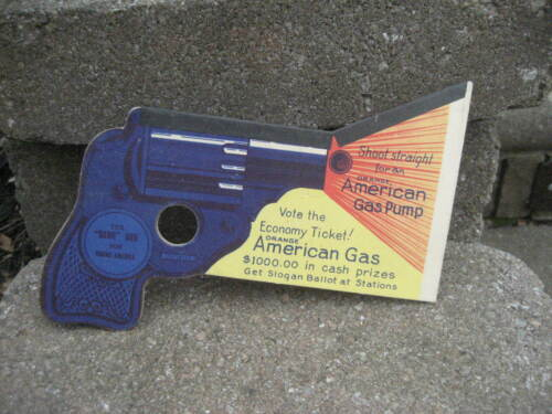 Vintage Amoco Orange American Gas Pump Bang Gun Cardboard Cutout Promo