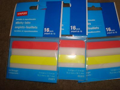 Staples Sticky Tabs 16pack 25323 Lot Of 3