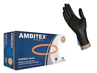 50 100 Or 1000 Black Nitrile Gloves Latex Free Powder Free Exam Size S M L Xl