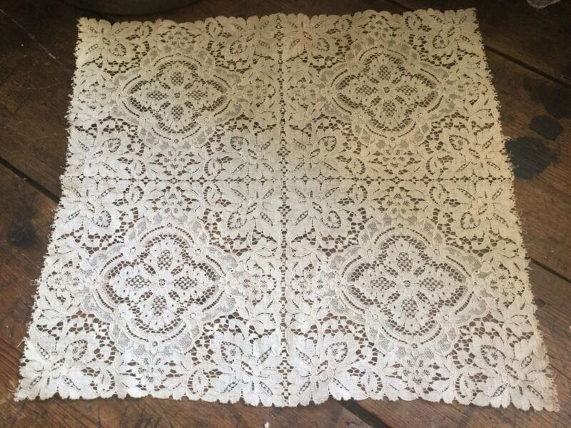 Antique Vintage Ecru Lace Table Runner Doily Floral Motif
