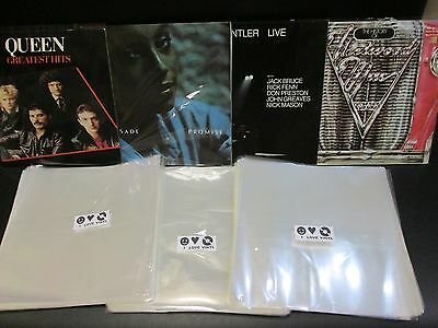 """100 pcs. 12"""" Plastic Vinyl Record SLEEVES COVERS LP Outer ♫ Best STANDARD SIZE"""
