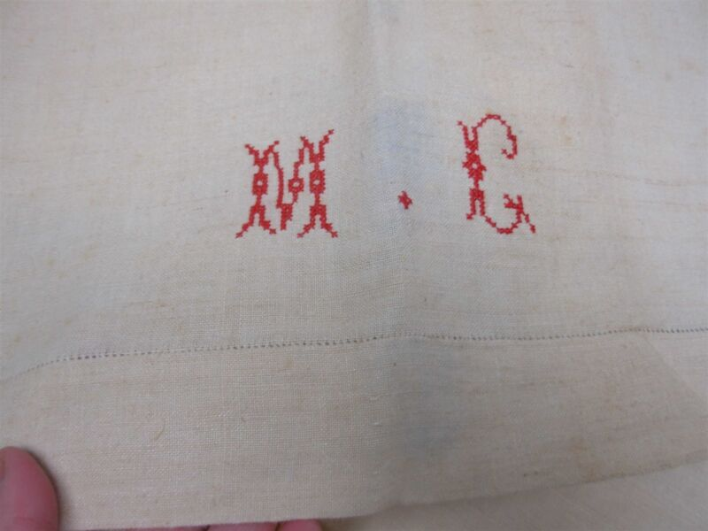 """2 ANTIQUE HOME SPUN PURE LINEN BED SHEETS with EMBROIDERED MONOGRAM """"MG"""" 88x110"""