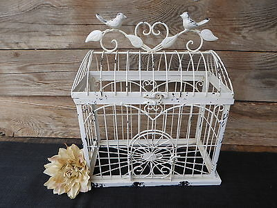 Creamy White Metal Bird Cage Home Garden Decor Wedding Card Holder Centerpiece