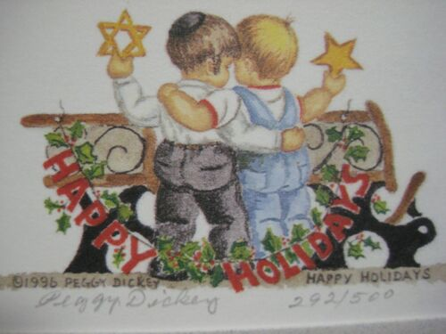 Christmas Hanukkah Theme Blank Card Signed & Numbered by Artist Peggy Dickey