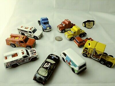 1982 Hot Wheels Blackwall Thunder Roller & 3 1974 Hot Wheels Utility Semi Trucks